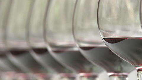 Close up rack focus on a row of wine glasses Stock Video Footage