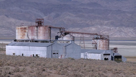 Vertical Pan Of An Old Mining Operation In The Owens Valley Near Lone Pine, California stock footage