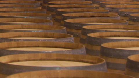 Wine barrels in a Santa Barbara County winery, California Stock Video Footage