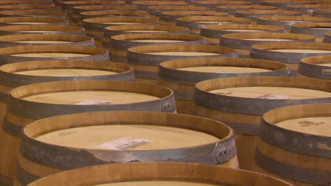 Wine barrels in a Santa Barbara County winery, California Footage