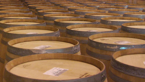 Wine barrels in a Santa Barbara County winery, California Stock Video Footage