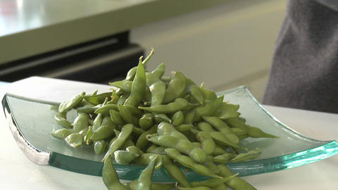 Organic soy beans on a glass plate Footage