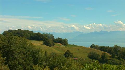 Lake Geneva pan Stock Video Footage