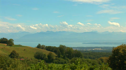 Lake Geneva pan Stock Video Footage