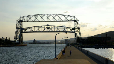 Time lapse of drawbridge going up and ship approaching Stock Video Footage