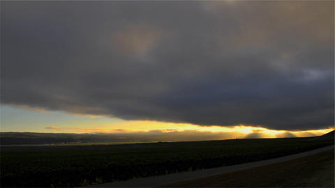 Time lapse of cloudy sunset over a vineyard Stock Video Footage
