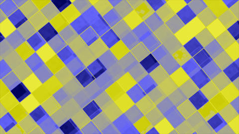 Looping animations of a blue and yellow checkerboard design Stock Video Footage