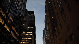 Night skyscrapers and window lights in NYC New York City Manhattan night street  Footage