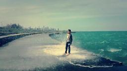Waves Splashing Man Footage