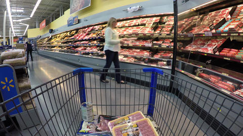 Woman shopping meat department market store POV 4K 877 Footage