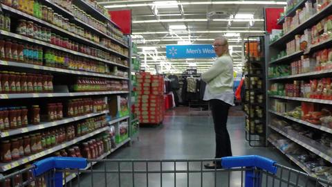 Woman shopping grocery isle shopping cart HD POV 870 Footage