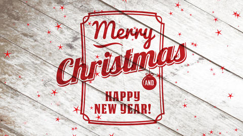 retro merry christmas and satisfied new year trade mark with red edge and handwriting over wooden Animation