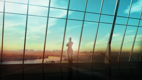 A business woman stands by a panoramic window and looks into the distance Fotografía