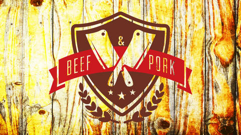 beef and pork butchery shop ad with medieval style emblem with big knives crossing on wooden Animation