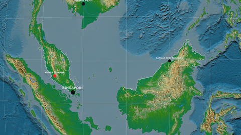 Zoom-in on Malaysia outlined. Physical Animation
