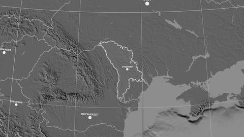 Zoom-in on Moldova outlined. Grayscale contrasted Animation