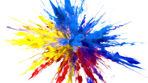Color Burst - colorful smoke powder explosion fluid ink particles alpha matte Animation