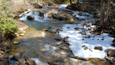 River of melting snow in Akazawa Nature Recreation Forest, Shinshu, Japan Live Action
