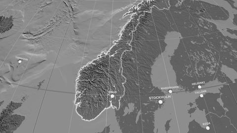 Zoom-in on Norway extruded. Grayscale contrasted Animation