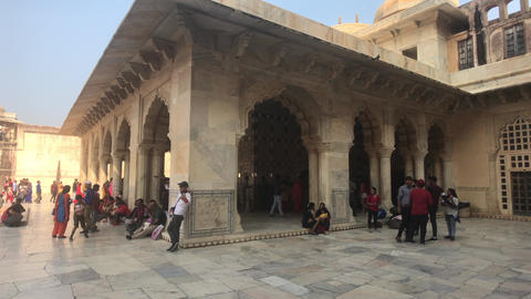 Jaipur, India, November 05, 2019, Amer Fort tourists relax in the shade of a Live Action