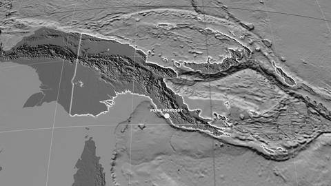 Zoom-in on Papua New Guinea extruded. Grayscale contrasted Animation