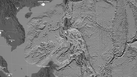 Zoom-in on Philippines outlined. Grayscale contrasted Animation