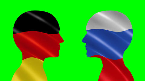 Silhouettes of talking German and Russian people CG動画