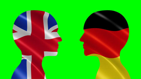 Silhouettes of talking UK and German people Animation