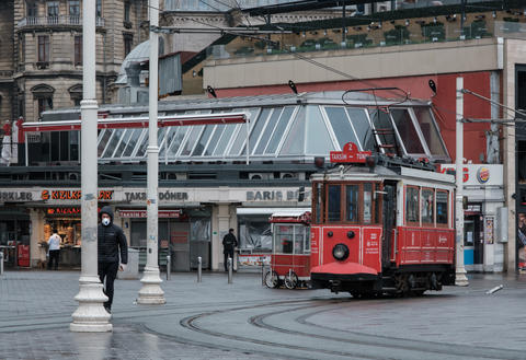 Nostalgic Red Tram at Taksim square. Istiklal Street is a popular destination in Istanbul.Tram runs フォト