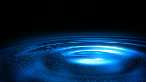 Blue glowing water ripples on a black background seamless loop Animation