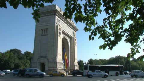 BUCHAREST, ROMANIA - SEPTEMBER 09: Arcul de Triumf (Arch of Triumph) on Septembe Footage