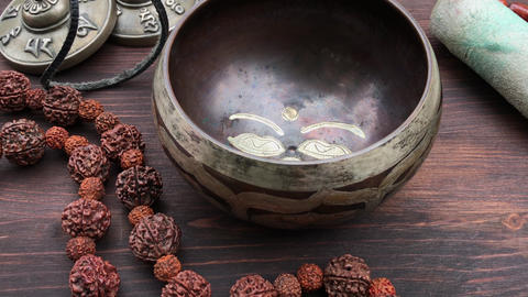 Tibetan Singing Bowl Copper, zoom out Footage