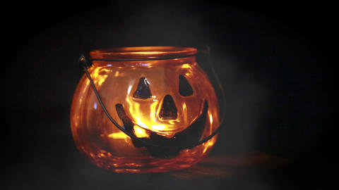 Halloween Pumpkin Glass Jar Footage