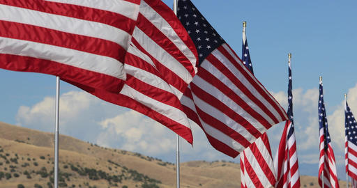 Row United States of America flags mountain DCI 4K 634 Footage