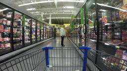 Woman shopping frozen food department market POV 4K 876 Footage