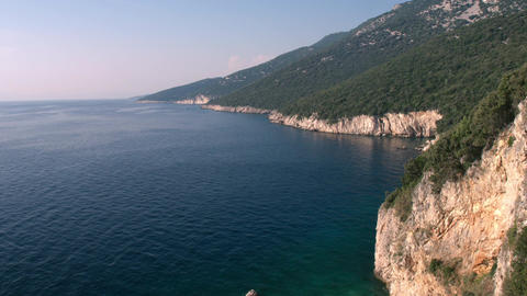 Aerial - Raising above the Adriatic Coast in late afternoon Footage
