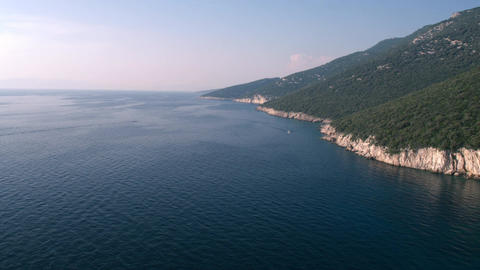 Aerial - Long shot of coastline in Adriatic sea at late afternoon Footage