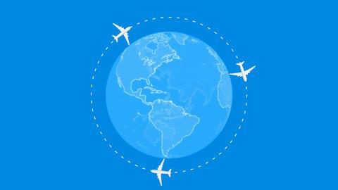 Airplane animation fly over around blue world Animation