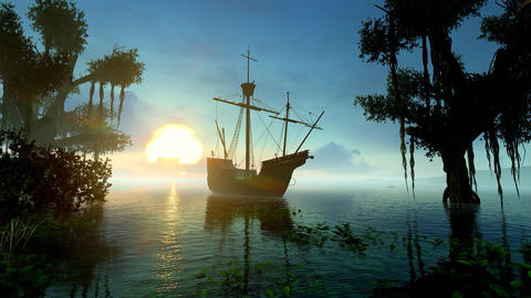 Sailing Ships In The Bay Of The Island Animation