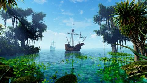 Sailing Ship Docked Animation