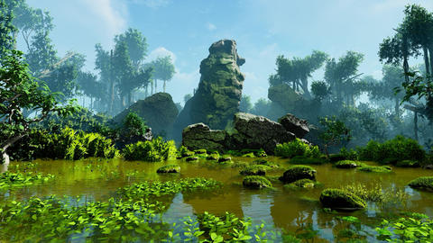 Cliff in the tropical jungle Animation