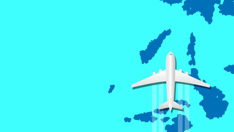 Airplane animation fly over around blue world map Animation