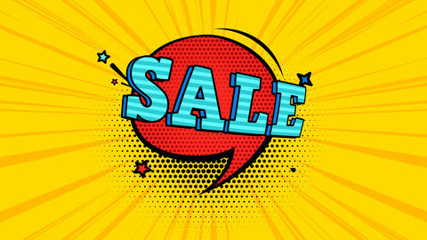 Animated looped sale poster in pop art style Animation