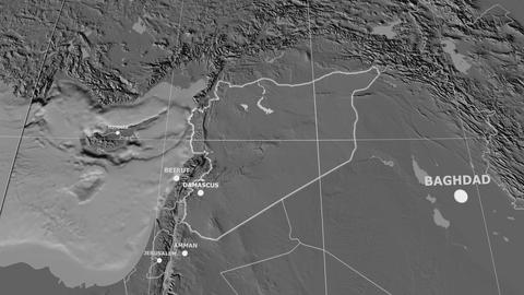 Zoom-in on Syria extruded. Grayscale contrasted Animation