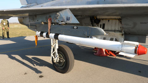 Landing gear of a soviet era fighter military jet MiG 21 of Serbian Air Force Live Action