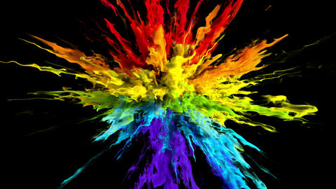 Color Burst - colorful smoke powder explosion fluid ink particles alpha channel Animation