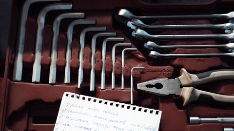 set of wrenches in a workshop Live Action