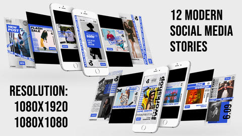 12 Modern Instagram Stories Plantilla de After Effects