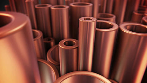 Shiny metal copper pipes with selective focus effect Animation