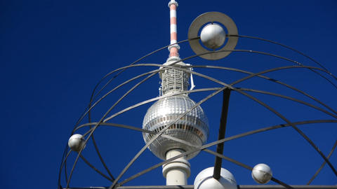 Detail of the World clock and TV Tower in Alexanderplatz Live Action